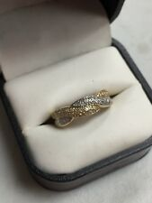 14K TWO TONE DIAMOND PAVE TWIST RING .48tcw