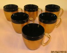 Set Of 6 West Bend Thermo Serv Insulated Black Gold Coffee Cups Mugs mid century