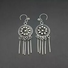 silver tassels earring 1pair Chinese tribal handmade filigree miao
