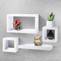 Set of 4 Floating Wall Cube Shelves White Hanging Storage Display Shelving UK