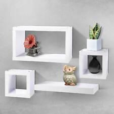 Set Of 4 Floating Shelf/Shelves White, Wooden Cube Shelves Wall Deco Storage