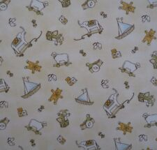 Boats Elephants Teddy Bears Blocks Sheep Baby Quilting Patchwork Fabric 1/2 metr