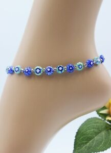 Glass Jewellery Stainless Steel Silver Anklet Beads Blue Turquoise Millefiori #