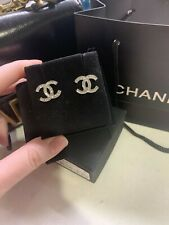 Authentic Chanel Silver-Tone Dore CC Stress Crystal Studs Earrings