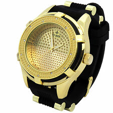 Mens Gold Black Hip Hop Iced Out Fashion Silicone Quartz Wrist Watch Fly High