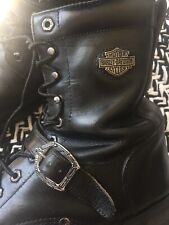 Harley-davidson Motor Cycles Boots Black Leather Re Soled Refurbished 9 D