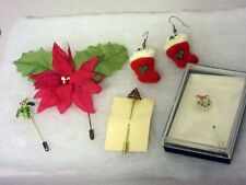 Lot of Xmas Holiday Jewelry 4 Stick Pins & 1 Pair Pierced Bear Stocking Earrings