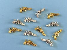 Silver, Gold Metal Gun Charms for Bracelets, Display w/ Dolls Trolls Accessories