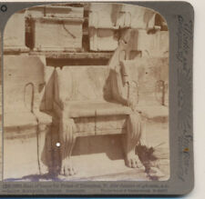 Seat for Priest of Dionysos Theatre Athens Greece Underwood Stereoview 1907