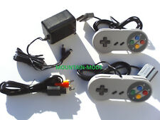 New 2 Controllers + AC Adapter Power Cord + AV Video Cables Fits Nintendo SNES