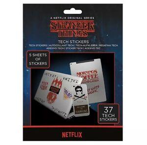Pack 37 Genuine Stranger Things Tech Stickers Gadget Decals 🇬🇧 UK SELLER