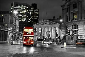 LONDON SCENERY RED BUS ART WALL COVER 30x20 Inch Canvas Framed READY TO HANG ART