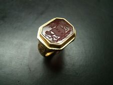 Magnificent Heavy 18k Gold Antique style hand cut Carnelian Crest ring