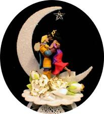 DISNEY Hunchback Phoebus & Esmeralda WEDDING CAKE TOPPER top fairytale bi-racial