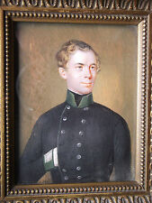 Miniature Portrait of an Austrian Officer, Signed, F. Wolf