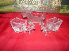 Adorable Vintage Pair of Donkey Carts and Scotty Dog Creamer Glassware