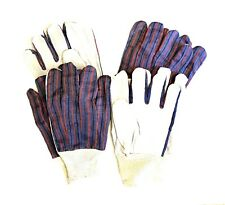 GARDENING GLOVES 4 Prs One Size WORK Stretch Wrist, Gray Suede Fabric Outer