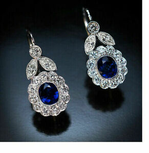 1Ct Oval Cut Sapphire & Diamond Antique Cluster Earrings 14k White Gold Finish