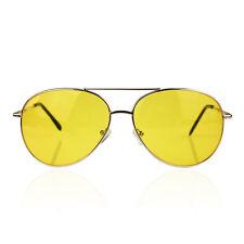 Polarised Night Vision Driving Anti Glare Glasses Sunglasses Aviators Yellow