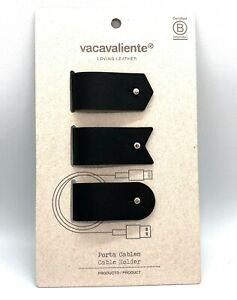 Amazing Trio of Cable Holders in 100% Recycled Leather in Black Color (#AR2149)