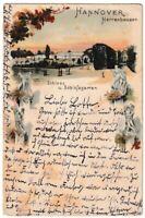 Ansichtskarte Hannover-Herrenhausen - Schloss und Schlossgarten - Litho 1898