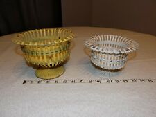 New ListingVintage Metal Wire Yellow and White Footed Planters Tabletop Sized