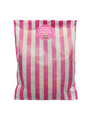 Pink & white paper party bags & 30mm pink cake stickers - 24 of each in pack