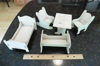 Dutch Doll Furniture Lot Vintage Off-white rocking chair bed table crib handmade