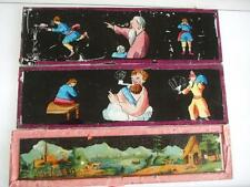 3 MAGIC LANTERN SLIDES CHILDRENS STORY TIME HAND PAINTED & LITHOGRAPH