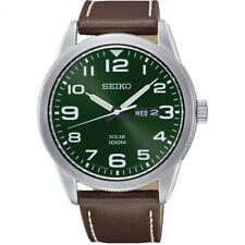 Seiko Gents Solar Leather Strap Watch - SNE473P1 NEW