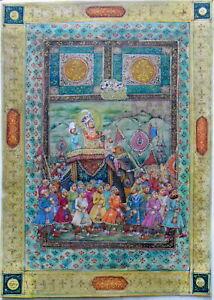 Vintage Old Miniature Mughal Maharajah Procession  Hand Painting Decorative Art
