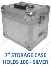 "7"" Vinyl Record Aluminium DJ Flight Carry Case Silver Holds 100 Tough Strong"