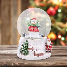Wind Up Musical Christmas Snowman Santa Claus Snow Globe Xmas Home Decoration