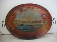 RRR RARE Antique Hand Painted Metal Tray Early 19th Century