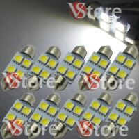 10 Lampade Siluro 36mm Led 4SMD Luci Auto Xenon Lampadine BIANCO Interno Targa