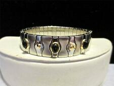 EXPANDABLE SOLID STAINLESS STEEL AND 18 KT YELLOW GOLD STUDDED ONYX BRACELET