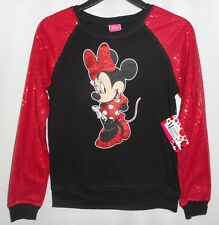 Disney Minnie Mouse Girls Sequin Shirt Black Red ong Sleeves Size XS 4-5 NWT