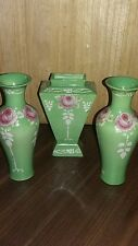 Shelley Art Deco Green  Vases with Rose Design x 3