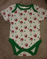 "BABY GIRLS BOYS CHRISTMAS BODYSUIT. ""SANTA'S HEAD & STAR"" PRINTS. 3-6 MONTHS.NEW"