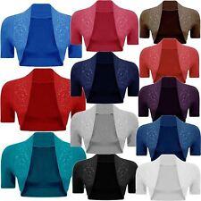 New Womens Beaded Bolero Crop Open Shrug Ladies Short Sleeve Fancy Cardigan Top