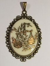 *60% OFF-SALE* Lg.Vintage. Ivory/Gold Zodiac Pendant-LIBRA.new bronze set