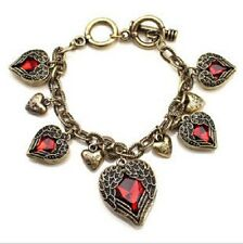Gorgeous New Vintage Bronze Red Heart Wings  Created Gem  Bracelet Toggle Clasp