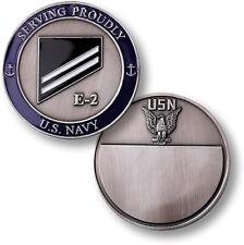 U.S. Navy Rank E-2 White Engravable Challenge Coin