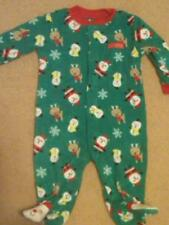 NWT INFANT SOFT FLEECE BLANKET SLEEPER CHRISTMAS SANTA SNOWMEN SNOWFLAKES 3-6 MO