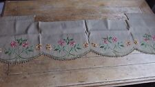 Antique French Vintage Rustic  Hemp Embroidered Pelmet  /  Panel C 1920