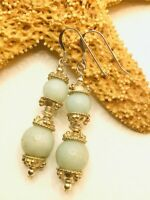 NATURAL BLUE AMAZONITE GEMSTONE DROP DANGLE HOOK EARRINGS STERLING SILVER 92.5