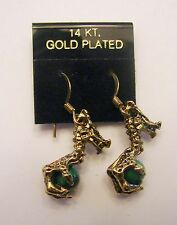 NEW 14K GOLD PLATED DRAGON CLAW HOLDING GREEN CRYSTAL BALL EARINGS