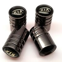 New KIA car tyre valve dust caps pack of 4x metal grey wheel valve caps