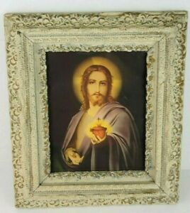 Antique Jesus Sacred Heart in Hand Picture Wood Frame