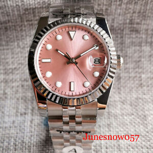 Business Pink 36mm Fluted Bezel Date Pink Automatic Men Watch Jubilee Band